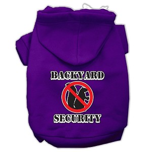 Backyard Security Screen Print Pet Hoodies Purple Size XL (16)